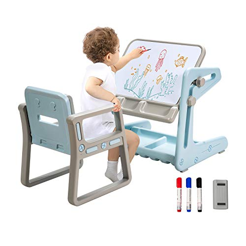 COSTWAY Kids Table and Chair, Drawing Board Study Desk with Adjustable Magnetic Whiteboard, Storage...