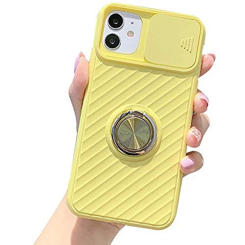 Funda Compatible para Iphone12/12 Pro/12 Pro MAX Cubierta Deslizante para La Cámara con Función de Soporte Transparente Anti Choque TPU Protección Ultra Delgado Back Cover,Amarillo,XR