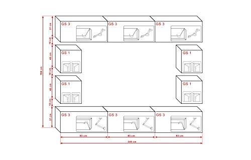 FUTURE 17 Moderne Wohnwand, Exklusive Mediamöbel, TV-Schrank, Neue Garnitur, Große Farbauswahl (Weiß MAT base / Weiß HG front) - 2
