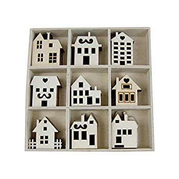 SUPVOX 45pcs Wood Craft Shapes House Shaped Wood Embellishment Cutout Veneers for DIY Craft Project Home Ornaments