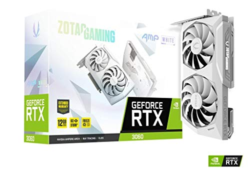 ZOTAC GAMING GeForce RTX 3060 AMP White Edition, 12 GB GDDR6, 192 bits, 15 Gbps, PCI 4.0, tarjeta gráfica para juegos, IceStorm 2.0 Advanced Cooling, ZT-A30600F-10P