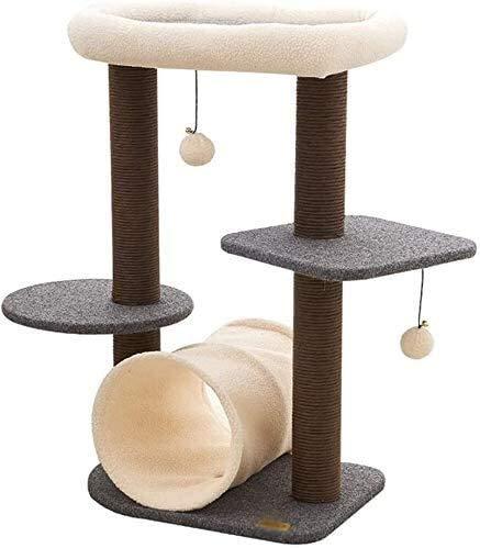 Wxxdlooa Gato túnel Columpio, Que admite Mascotas Tienda Plataforma de Salto del Gato Molienda Garra Toy Cat Scratch multifunción Junta Rascador de una Sola Pieza (Color : Brown)