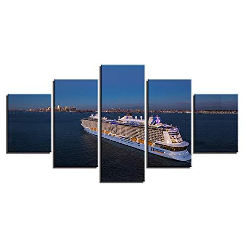 QAZWSY Canvas Prints Foto's Home Decor 5 Stuks Grote Schip Boot Schilderijen Cruise Posters Voor Woonkamer Wall Art 30x40 30x60 30x80 CM No Frame