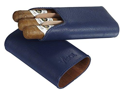 Visol Cuero Top Grain Blue Leather 3-Finger Cigar Case with Cedar Lining