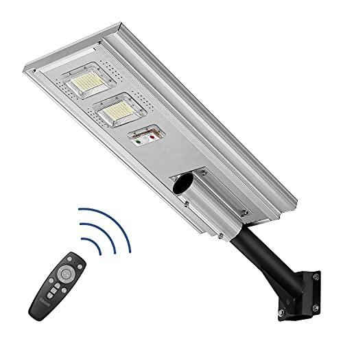 200W Commercial Solar Street Light-6000k Solar Dusk to Dawn Lights Outdoor Remote Control Solar Motion Street Lights IP65 Waterproof Solar Pole Lights Industrial Street Light, KH-GCYT200