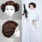 Princesa Leia Organa Solo Cosplay Arnés Star Wars Cos Browm Peluca de doble trenza Carnaval de Halloween Cos Accesorios de lujo Caliente