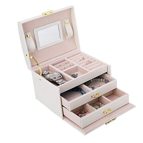 Omabeta Organizador de Joyas 3 Niveles Caja de exhibición de joyería de Gran Capacidad Cuero de PU Color Elegante Cómodo de Limpiar para Joyas Exhibición Tienda minorista y hogar(White)