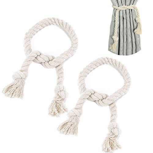 FOGAWA Abrazaderas Cortina par de Abrazadera de Borla de Cordón para Cortinas Decorativo Alzapaños Cortina de Cordón Tejidos a Mano para Cortinas Salón Dormitorio y Oficina (Beige 80cm)