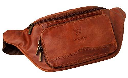 Matador ECHT Leder Bauchtasche Umhängetasche Schultertasche Reisetasche Freizeittasche Wandertasche Urlaubtasche (Antik Braun)