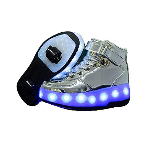 Zapatos con Ruedas Zapatillas con Dos Ruedas para niños y niña Led Luces Zapatillas con Ruedas Se Puede Bambas con Ruedas Carga con USB Automática Calzado de Skateboarding Silver,32