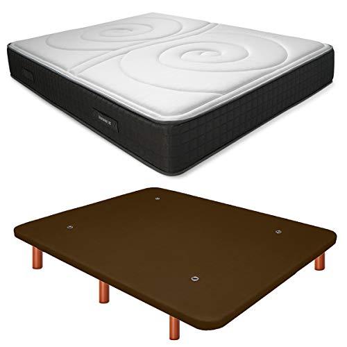Duérmete Online Base Tapizada 3D Reforzada Anti Ruido + Colchón Viscoelástico Duo Reversible   Patas de Madera Color Cerezo, Chocolate, 135x190