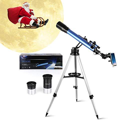 TELMU Telescopio Astronomico GS700/60, Ingrandimento (117x e 28x), Oculare Kellner (K6mm e K25mm), Regalo di Natale per Bambini, Treppiede Regolabile, Osservazione Della Luna, Ammasso Stellare