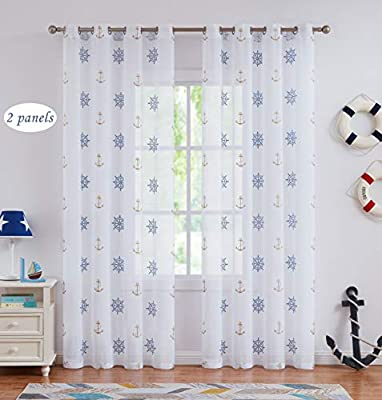 Amzdecor Anchor Embroidery Sheer Curtain Grommet Top Style Blue Window Treatment for Kid Bedroom,Toy House,Living Room,55''X63'',2 Panels