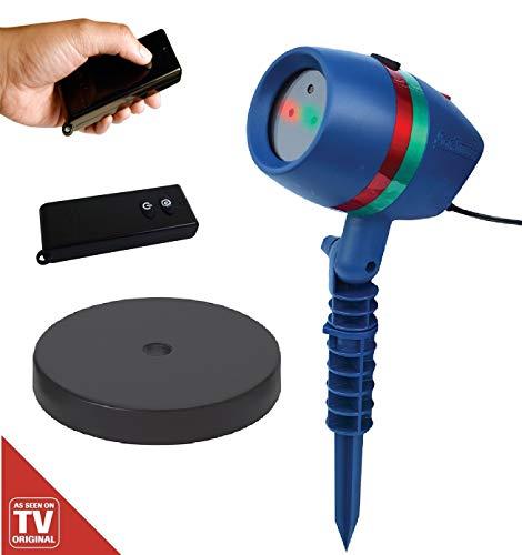 Star Shower Motion SET mit Erdspieß, Indoor-Sockel und Fernbedienung | Laserlicht Lichtsystem für Innen und Außen | Weihnachts-Party-Beleuchtung | Das Original aus dem TV