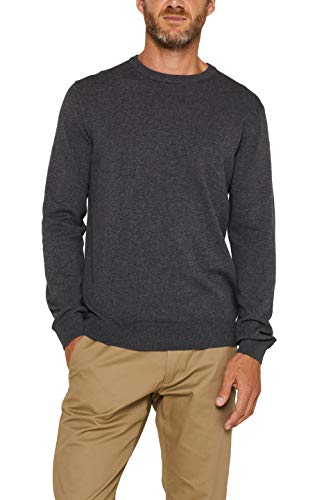 ESPRIT Herren 996EE2I900 Pullover, Grey Melange, 01/19, L