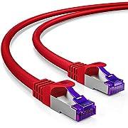 deleyCON 7,5m RJ45 Patchkabel Ethernetkabel Netzwerkkabel mit CAT7 Rohkabel S-FTP PiMF Schirmung Gigabit LAN Kabel SFTP Kupfer DSL Switch Router Patchpanel - Rot