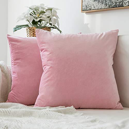 MIULEE 2er Set Samt Soft Solid Dekorative Quadrat Wurf Kissenbezüge Set Kissen Fall für Sofa Schlafzimmer Auto 16x16 inch 40x40 cm Sakura Rosa