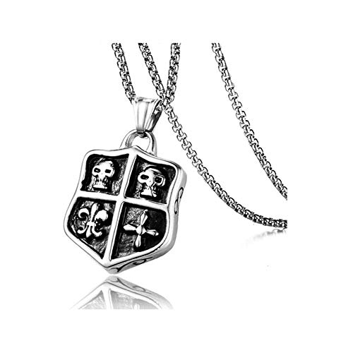 LKYH Simple Retro Necklace Men's Punk Stainless Steel Skull Dog Tag Shield Pendant Necklace