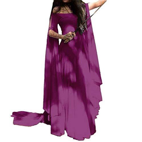 Mujer Medieval Vestido Gótico Steampunk Maxi Vestido Sin Tirantes Elegante...