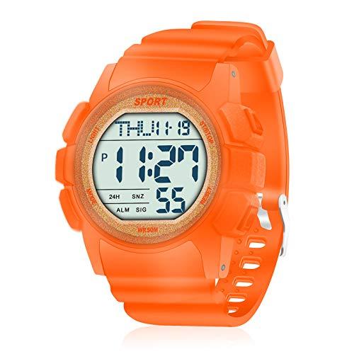 WIFORT Reloj Digital Hombre, 5ATM Impermeable Deportivo Reloj de Pulsera Esfera Grande con Cronómetro, Cuenta Regresiva, Alarma, Tiempo Dividido, Zone Horaria Dual, Mens Watch Naranja