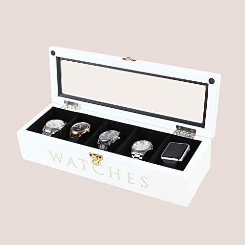 GJ-bsn Holz Uhrenbox, Display-Ständer/Box Set/Aufbewahrungsbox für Schmuck Uhren, Armband Collection Box, 5 Grids Watch Display Box mit Glasdeckel (Farbe : Weiß)