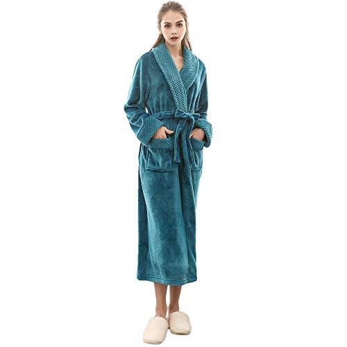 VJGOAL Mujer Invierno cálido cálido Alargado Coral Polar Bata de Felpa Mantón Albornoz de Manga Larga con Cordones Robe Coat Pijamas