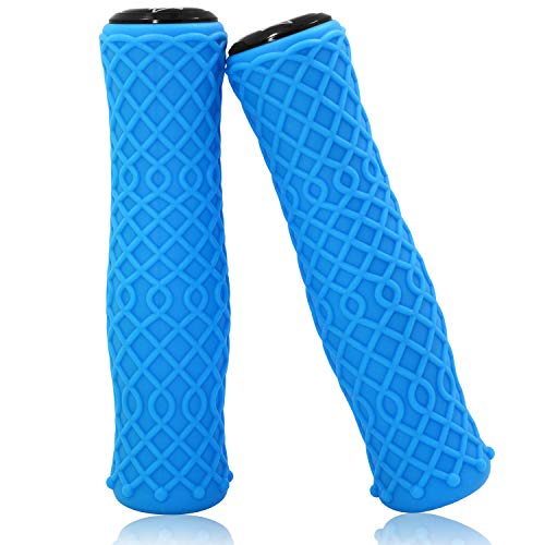 Acekit Bike Handlebar Grips Non-Slips Silica Gel Grips for Mountain Bike BMX Folding Bicyle and Road Bike-Blue