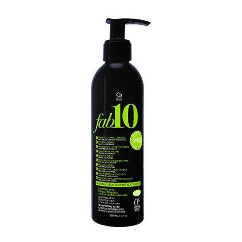 Fab10 - Shampoing Nettoyant 10 en 1 Sans Sulfates - Traitement Professionnel 10 Avantages Délicats à la Kératine - Sans Sulfates - Répare et Nourrit les Cheveux Faibles et Fragiles - 250 ml