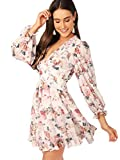 Romwe Women's Floral Print Ruffle Trim Backless A Line Fit and Flare Mini Dress White L