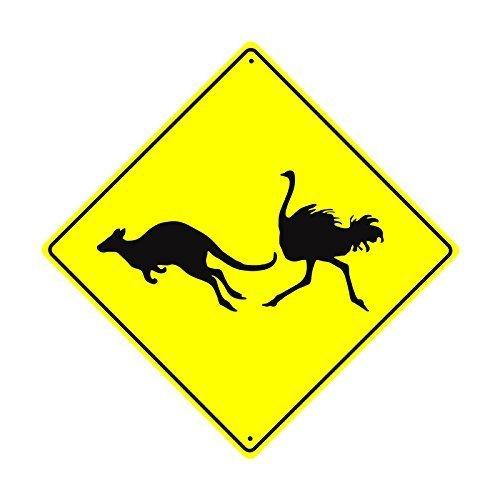Monsety Home Dekoration Schild Känguru Strauß Crossing Xing Graphic Wildlife Animal Vorsicht Sicherheit Metall alunimum Wandschild