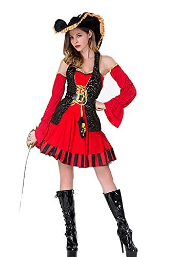 DZC Disfraz De Halloween Femenino Pirata Capitn Traje Vestido Establecer Party Theme Party Prom Cosplay Accesorios De Disfraces,Rojo,XXL