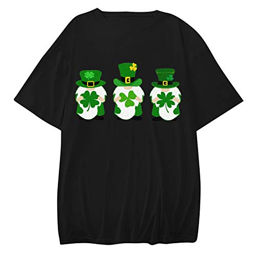 Camiseta de San Patricio para mujer, diseño de gnomo verde, con estampado de tréboles, cómoda, ligera, cuello redondo, color sólido, blusa, tallas grandes (S-3XL)