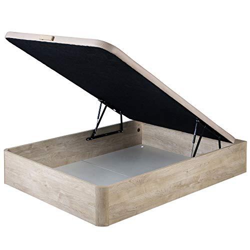 marckonfort Canapé abatible 150X190 de Gran Capacidad con Esquinas Redondeadas en Madera, Base tapizada 3D Transpirable