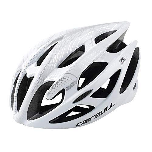 Matefielduk Fahrradhelm für Erwachsene CAIRBULL-01 Ultraleichter MTB Mountainbike-Helm mit Luftstrom (M/L Weiß),Verstellbar Radhelm