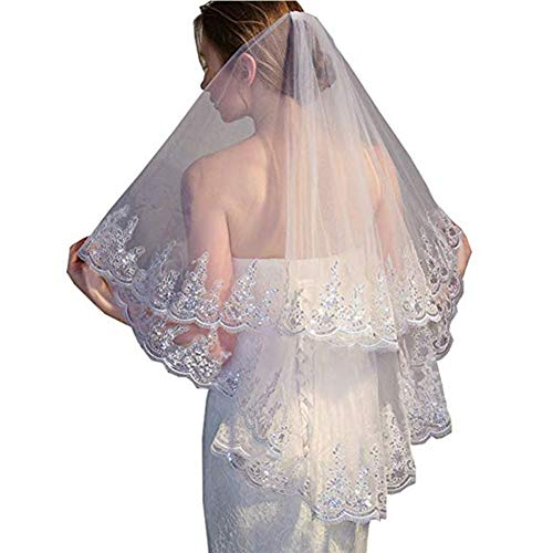 Bridal Wedding Veils Two Layer Bridal Veil White Ivory Tulle Wedding Veil with Comb Sequined Veil Wedding Accessories Bridal Veils Gorgeous Bridal Tulle (Color : White, Item Length : 75cm)