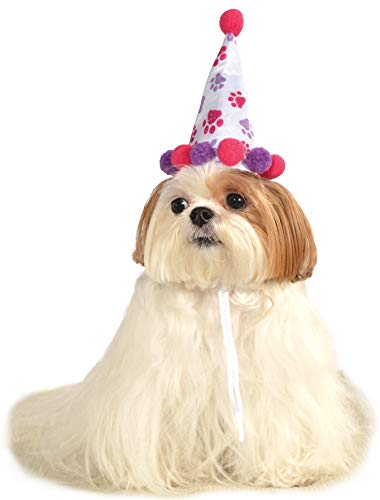 Rubie's Pet Birthday Hat, Small to Medium, Purple and Red Paw Print - http://coolthings.us