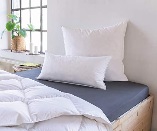 Schiesser Feder-Daunen Kopfkissen, Allergiker geeignet, Ökotex Standard 100, Farbe:weiß, Größe:40 x 80 cm
