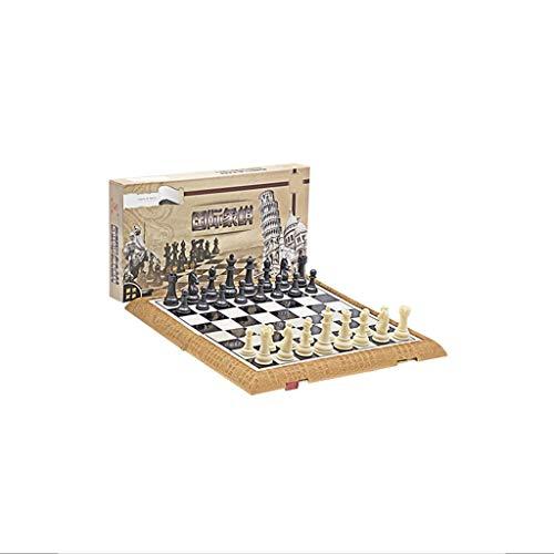 LICHUAN Juego de ajedrez plegable de plástico estándar de viaje internacional juego de tablero de ajedrez con piezas magnéticas de ajedrez para juegos de mesa de fiesta familiar (tamaño pequeño: