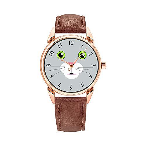 Reloj de pulsera para hombre, de cuarzo, resistente al agua, de piel marrón tallada, con sol de madera sobre fondo verde de lunares