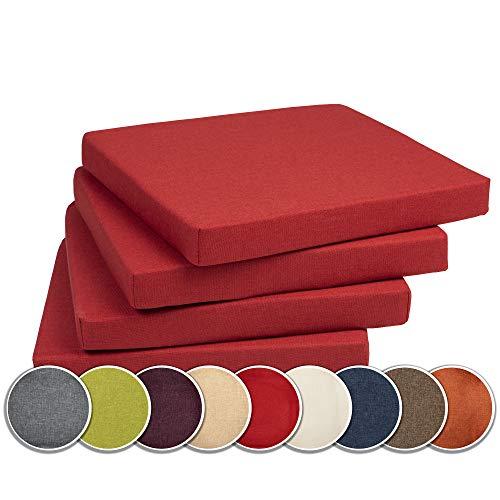 sunnypillow 4er Set Stuhlkissen Polsterauflage Auflage für Stühle/Bänke in Haus und Garten Sitzkissen Sitzauflage Gartenkissen viele Farben zur Auswahl 40 x 40 x 5 cm Rot