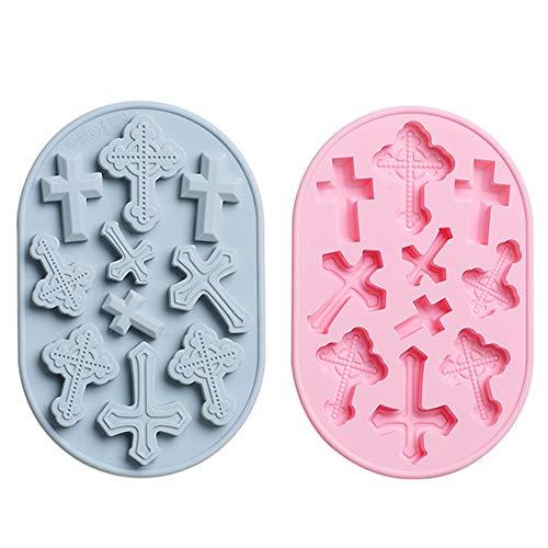 Cupcake-Fondant-Formen, NALCY Gießformen aus Silikon für Taufe, Kreuz Cupcake Form Silikonformen in Kreuzform für Süßigkeiten, Schokolade, Fondant, DIY-Werkzeug für Kuchendekoration (2 Stück)
