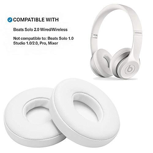 WADEO Ersatz Ohrpolster für Beats Solo 2 drahtlose Kopfhörer Weisse Leder Memory Foam Ohr Polsterfür Kopfhörer Ohrkissen