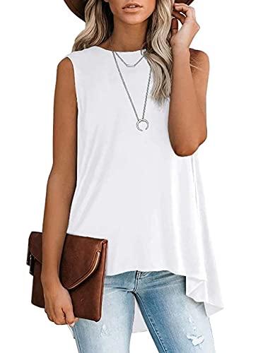 Lacozy Women's High Low Top Summer Sleeveless Plus Size Asymmetrical Tank Tops Crew Neck T Shirt White Small