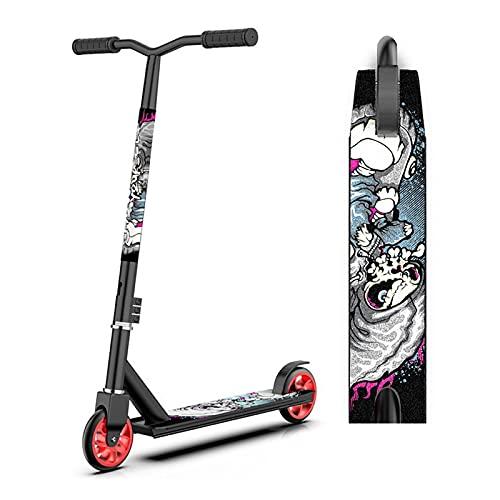 AGLZIYS Scooter Freestyle-Patinete Freestyle- Patinetes de Acrobacias, Rodamientos ABEC-7, Aluminio Ruedas 100mm, Niños Adultos 85 cm Altura Total Trucos Y Acrobacias (Color:Negro)