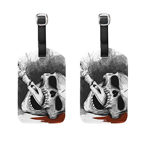 VORMOR Gepäckanhänger (Sortiert, 2 PK),Illustrations-Schädel-Messer-Weiß-Hintergrund, Gepäckanhänger, Kofferanhänger für Rucksäcke