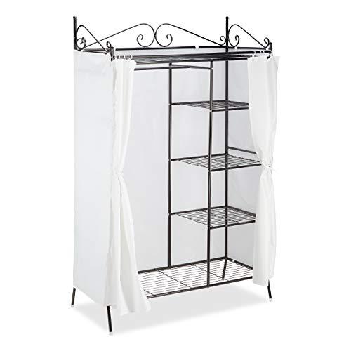 Relaxdays Blanc Penderie Métal COUNTRY 172x105x45 cm, Portant à vêtements avec Housse Style maison de campagne, Noir, polyester, 172 x 105 x 45 cm