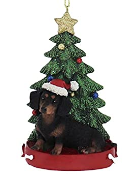Kurt Adler DACHSUND WITH CHRISTMAS TREE ANE LIGHTS ORNAMENT FOR PERSONALIZATION