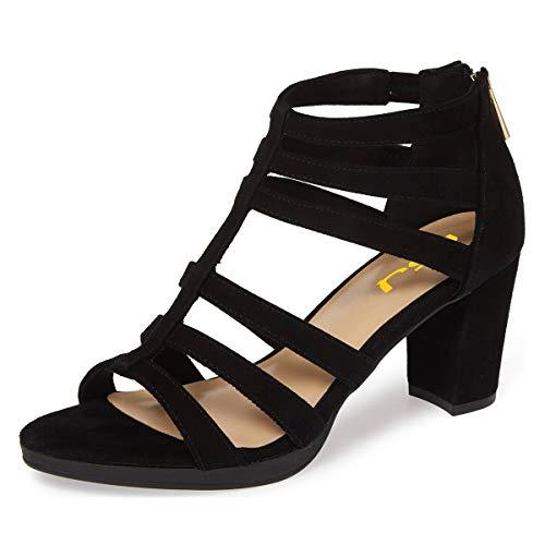 FSJ Women Chunky Mid High Heel Sandals Open Toe T-Strap Pumps Cutout Dress Party Office Shoes Elastic Back Zipper Size 13 Black