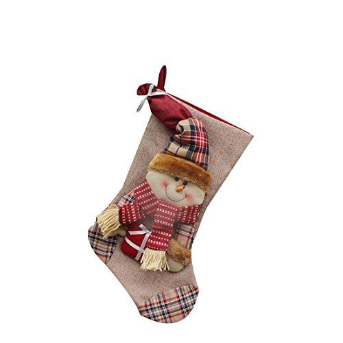1pcs Décorations de Noël Père Noël Bonhomme de Neige Bonbons Chaussettes Cadeaux Sac décoration-Snowman