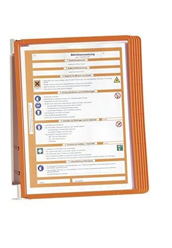 Durable 555109 Wand-Sichttafelsystem (Vario Wall 5, mit 5 Sichttafeln A4) orange